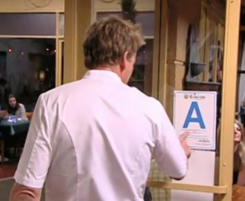 Gordon Ramsay mocks a Los Angeles Public Health inspection report. 